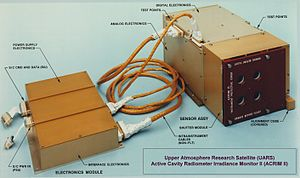 Upper Atmosphere Research Satellite - A photo of the UARS/ACRIM2 Total Solar Irradiance monitoring instrument.