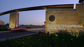 University of California, Santa Barbara - Henley Gate (eastern entrance) at sunset