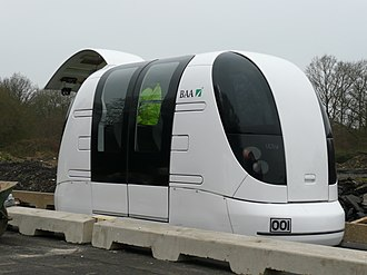 Personal rapid transit - An ULTra PRT vehicle on a test track at Heathrow Airport, London