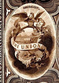 Oregon state coat of arms from the reverse of the National Bank Note Series 1882BB