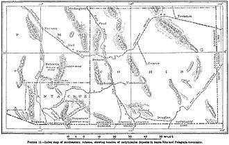 Fairbank, Arizona - Image: USGS Map of Santa Rita and Patagonia Mts 1910
