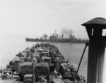 USS Boise (CL-47) shore bombardment off Gela from LST Operation Husky SC 175981.tif