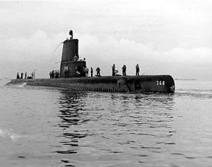 Jallao (SS-368), underway, mid-1950s, after Guppy IIA conversion.