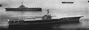 USS Ranger (CV-61) - Ranger departing for sea trials in 1957