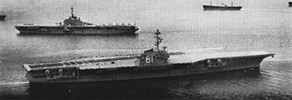 USS Ranger (CV-61) - Ranger departing for sea trials in 1957