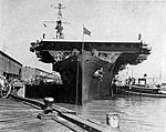 USS Saipan (CVL-48) tied up at Toulouse Street Wharf, New Orleans, in February 1947.jpg