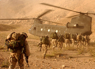 Soldiers board a Chinook helicopter US 10th Mountain Division soldiers in Afghanistan.jpg