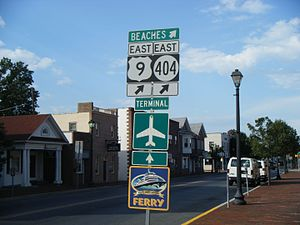 Delaware Route 404 - US 9/DE 404 eastbound past The Circle in Georgetown, where DE 18 ends and DE 404 joins US 9