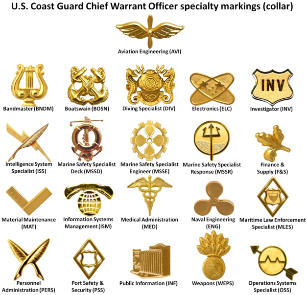 Insignia of the twenty-one different warrant officer specialties within the USCG