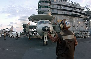 VAW-112 - A VAW-112 E-2C is readied for takeoff