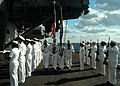 US Navy 050415-N-4565G-001 The Honor Guard aboard USS John F. Kennedy (CV 67) post the colors during a burial at sea ceremony in the Atlantic Ocean.jpg