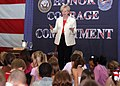 US Navy 060510-N-7906C-078 Vice President Dick Cheney's wife Lynne, talks to USS George Washington (CVN 73) Sailor's children in the hangar bay about her book of the ship's namesake crossing the Delaware River in 1776.jpg