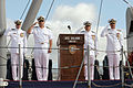 US Navy 070112-N-3228G-003 The official party salutes the colors at the decommissioning ceremony for the rescue and salvage ship USS Salvor (ARS 52).jpg