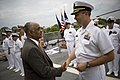 US Navy 090508-N-5549O-078 Cmdr. Michael P. Doran, Gold Crew Commanding Officer of the littoral combat ship USS Freedom (LCS 1), gives Acting Secretary of the Navy the Honorable BJ Penn a tour of the ship.jpg
