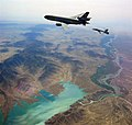 US Navy 100309-N-0000S-001 An F-A-18E Super Hornet refuels from an Air Force KC-10 tanker aircraft over the Kjaki Dam in Afghanistan.jpg