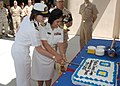 US Navy 100804-N-3931M-041 Sailors cut a cake during a ceremony to celebrate the 63rd anniversary of the U.S. Navy Medical Service Corps.jpg