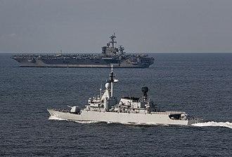 Kasturi-class corvette - Image: US Navy 110126 N 7981E 232 The Nimitz class aircraft carrier USS Carl Vinson (CVN 70) leads the Royal Malaysian Navy frigate KD Lekir (FF 26) durin