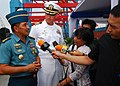 US Navy 110601-N-KK935-112 ndonesian Navy Col. Chris Paath, co-commander for CARAT Indonesia 2011, answers questions for the media while Capt. Dave.jpg