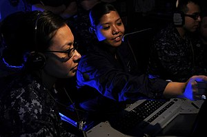 US Navy 120120-N-RG587-099 Cryptologic Technician (Technical) 2nd Class Katherine Newquist, left, and Cryptologic Technician (Technical) Seaman App.jpg