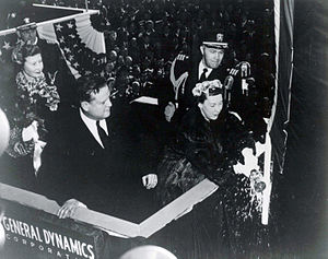 US Navy 120120-N-ZZ999-004 In this file photo taken Jan. 21, 1954, First lady Mamie Eisenhower christens the nuclear-powered submarine USS Nautilus.jpg