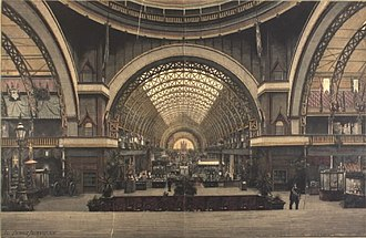 1888 in Denmark - The Interior of the great exhibition hall of the Nordic Exhibition of 1888