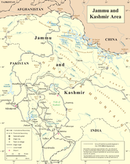 Map including the upper reaches of the Yarkand River