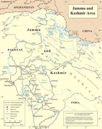 2001–02 India–Pakistan standoff - The United Nations map of the LoC.