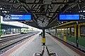 Ungarn Sopron Bahnhof Umsteigebahnsteig Mattersburger Bahn auf Burgenlandbahn (071115).JPG