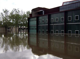 Iowa flood of 2008 - The University of Iowa's Art Building West (foreground) and Art Building (background) during the flood.