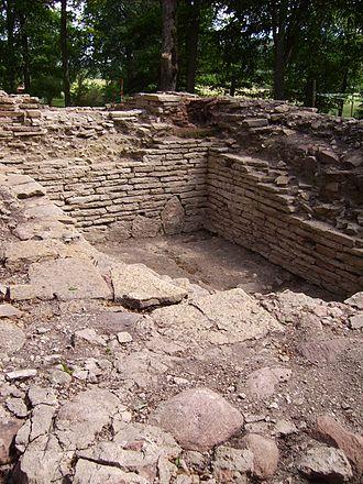 Varnhem - The stone foundation of the old church of Varnhem, dated 1040 or earlier.