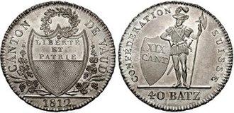 Swiss franc - 40 Batzen coin of Vaud (1812)