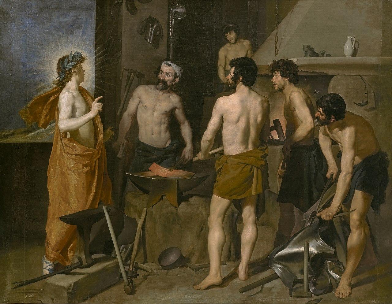 Pintura de historia la fragua de vulcano