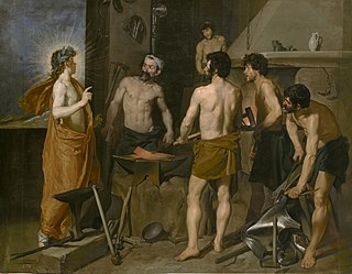 <i>Apollo in the Forge of Vulcan</i> painting by Diego de Velázquez
