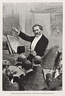 Ritratto di Verdi mentre dirige l'opera a Palais Garnier il 22 marzo 1880