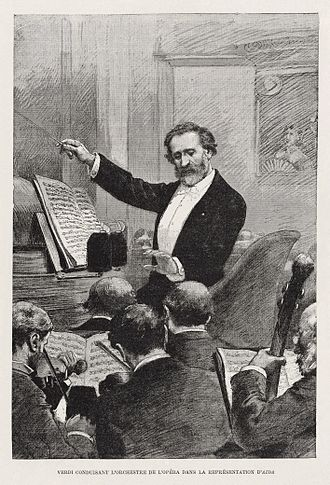Conducting - Giuseppe Verdi conducting his opera Aida in 1881