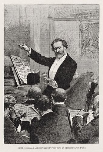 Verdi conducting the Paris Opera premiere of Aida in 1880 Verdi conducting Aida in Paris 1880 - Gallica - Restoration.jpg