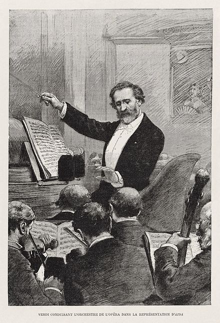 Giuseppe Verdi conducting his opera Aida in 1881 Verdi conducting Aida in Paris 1880 - Gallica - Restoration.jpg