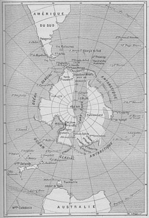 An Antarctic Mystery - Map of Antarctic region, according to Verne