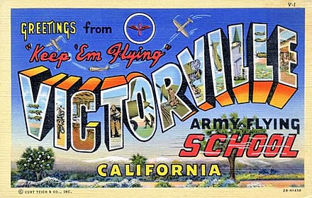 1943 Postcard from Victorville Army Airfield California during World War II - George Air Force Base