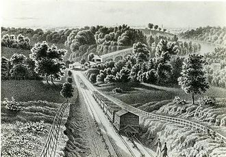 "Main Line of Public Works - ""View of the Inclined Plane, near Philadelphia"" (1838)."