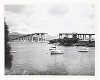 Tasman Bridge from east following collision, 1975