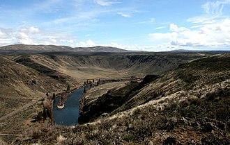 Umtanum Ridge Water Gap - A view south from Umtanum Ridge into the Yakima Canyon.