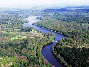 Berkshire -  Aerial view of Virginia Water Lake on the southern edge of Windsor Great Park