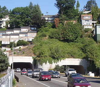 Vista Ridge Tunnels - The east end of the Vista Ridge Tunnels face downtown Portland and are under a residential neighborhood.