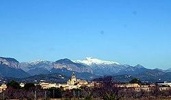 Vista de Santa Maria amb el puig Massanella nevat.JPG