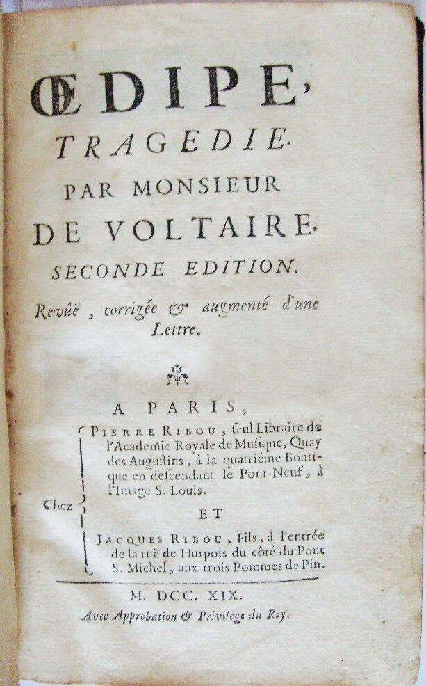 Voltaire Oedipe 2e édition Ribou 1719