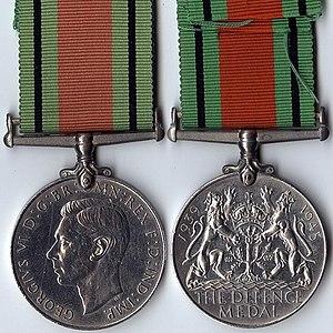 Defence Medal (United Kingdom) - Image: WW2 Defence Medal