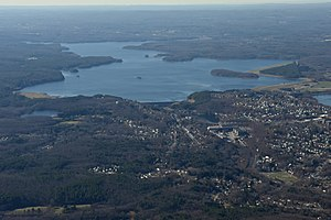 Wachusett Reservoir - Wachusett Reservoir and Dam from above Clinton, Massachusetts
