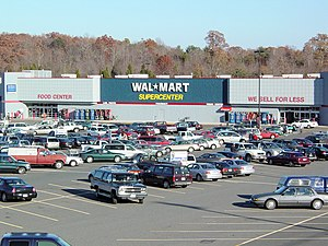 Big-box store - Exterior of a Walmart Supercenter, an archetypal big-box store, in Madison Heights, Virginia