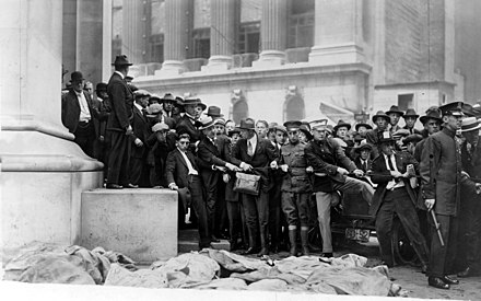 The Wall Street bombing at noon on September 16, 1920 killed thirty-eight people and injured several hundred. The perpetrators were never caught. WallStexplosion1920.jpg